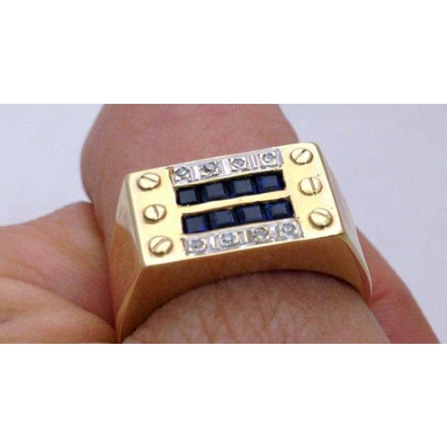 Luxinelle Gentlemens Diamond And Sapphire Mens Ringin 14K Yellow Gold - Ring