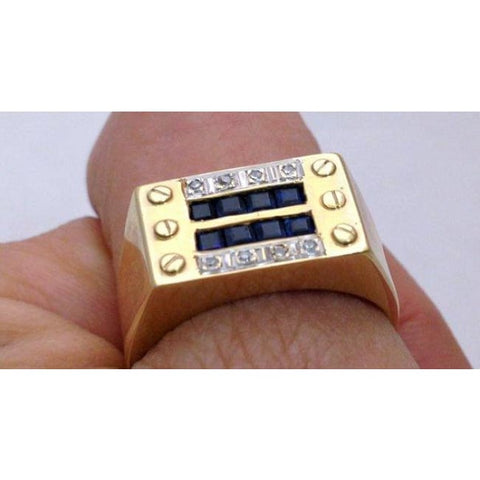 Image of Luxinelle Gentlemens Diamond And Sapphire Mens Ringin 14K Yellow Gold - Ring