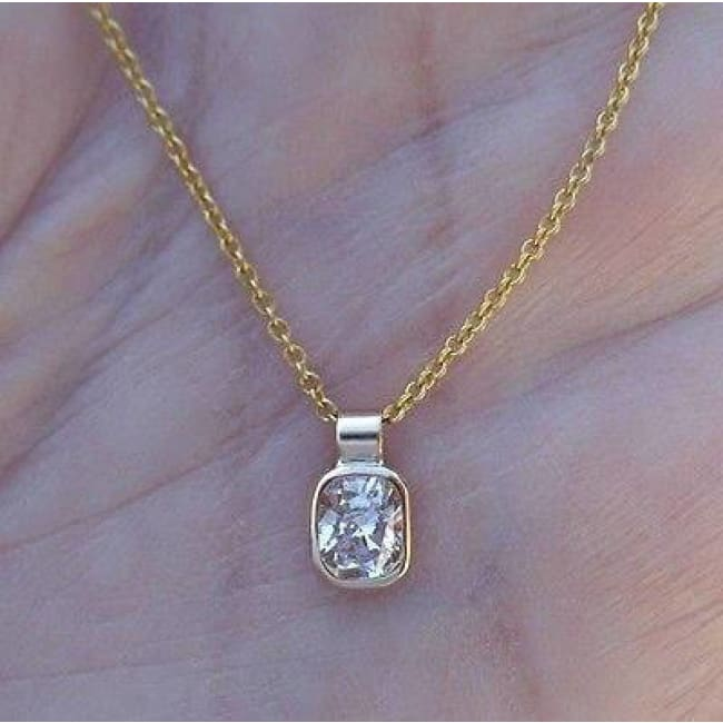 Luxinelle Gia Certified Elongated Cushion Cut Diamond Pendant - 0.42 Carat Certified Vs1 Diamond- 14K Yellow Gold - Necklace