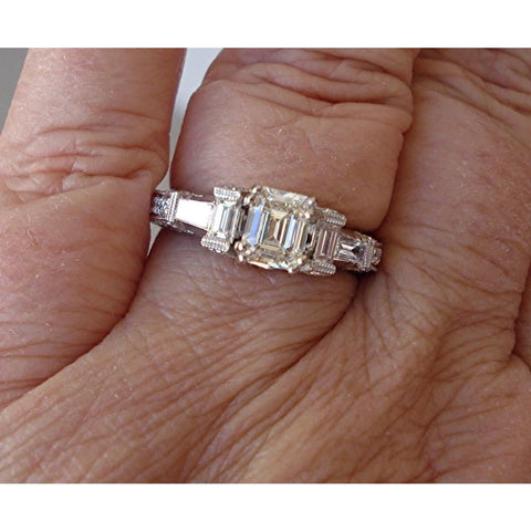 Image of Luxinelle Gia Emerald Cut Diamond Engagement Ring - 18K White Gold 1.71 Cttw By Luxinelle®Jewelry - Ring