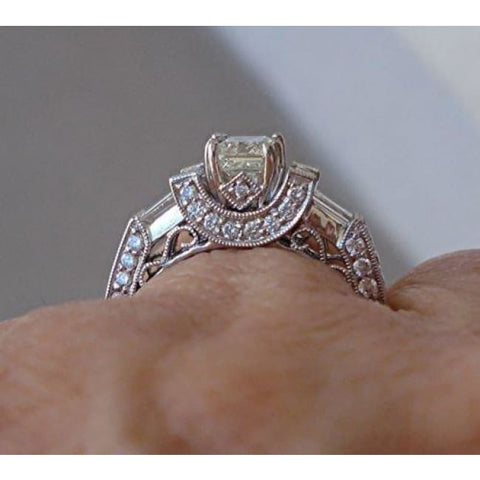 Luxinelle Gia Emerald Cut Diamond Engagement Ring - 18K White Gold 1.71 Cttw By Luxinelle®Jewelry - Ring
