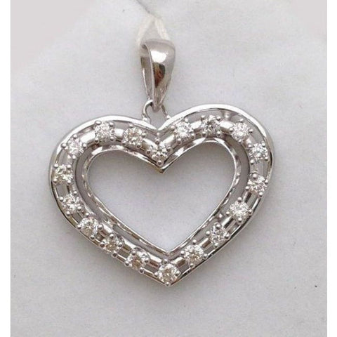 Image of Luxinelle Gorgeous 1/2 Carat Diamond Heart Pendant - 14K White Gold - Necklace