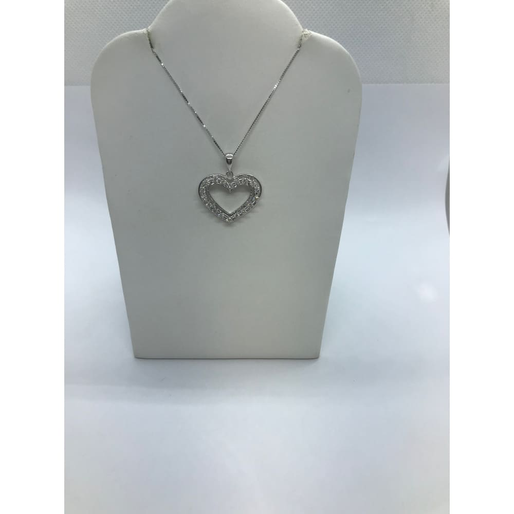 Luxinelle Gorgeous 1/2 Carat Diamond Heart Pendant - 14K White Gold - Necklace