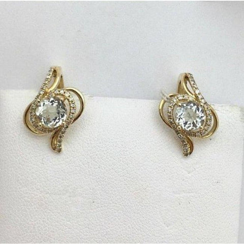 Luxinelle Green Amethyst Leverback Yellow Gold Earrings - 14K - Earrings