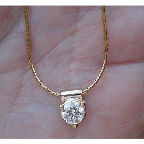 Image of Luxinelle Half Carat Diamond Pendant Solitaire On A Chain 14K - Necklace