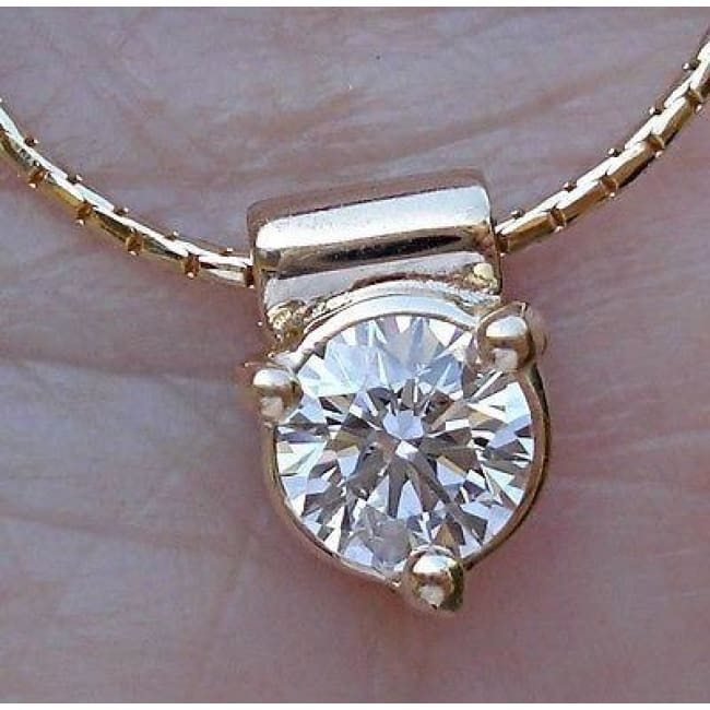 Luxinelle Half Carat Diamond Pendant Solitaire On A Chain 14K - Necklace