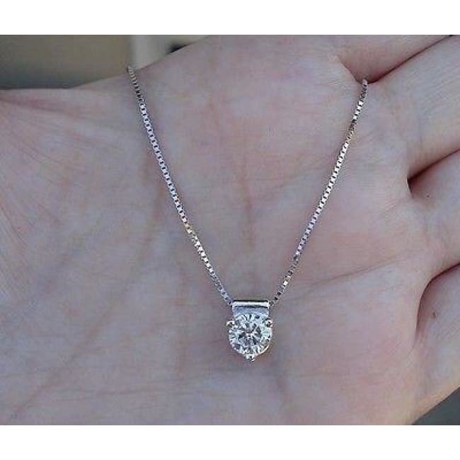 Luxinelle Half Carat Diamond Pendant Solitaire On A Chain 14K White Gold - Necklace