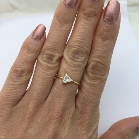 Image of Luxinelle Half Carat Trillion Cut Diamond Ring 14K Yellow Gold Minimalist Arrow By Luxinelle®Jewelry - Ring