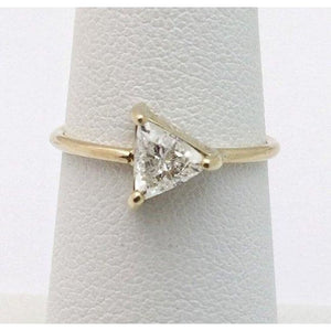Luxinelle Half Carat Trillion Cut Diamond Ring 14K Yellow Gold Minimalist Arrow By Luxinelle®Jewelry - Ring