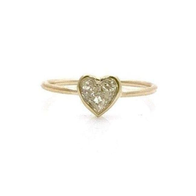 Luxinelle Handmade 0.50 Carat Minimalist Bezel Heart Shaped Diamond Ring - 14K Yellow Gold By Luxinelle®Jewelry - Ring