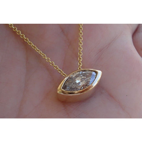 Image of Luxinelle Handmade 1.71 Carat Marquise Bezel Set Diamond Eye Pendant In 14K Yellow Gold East West - Necklace