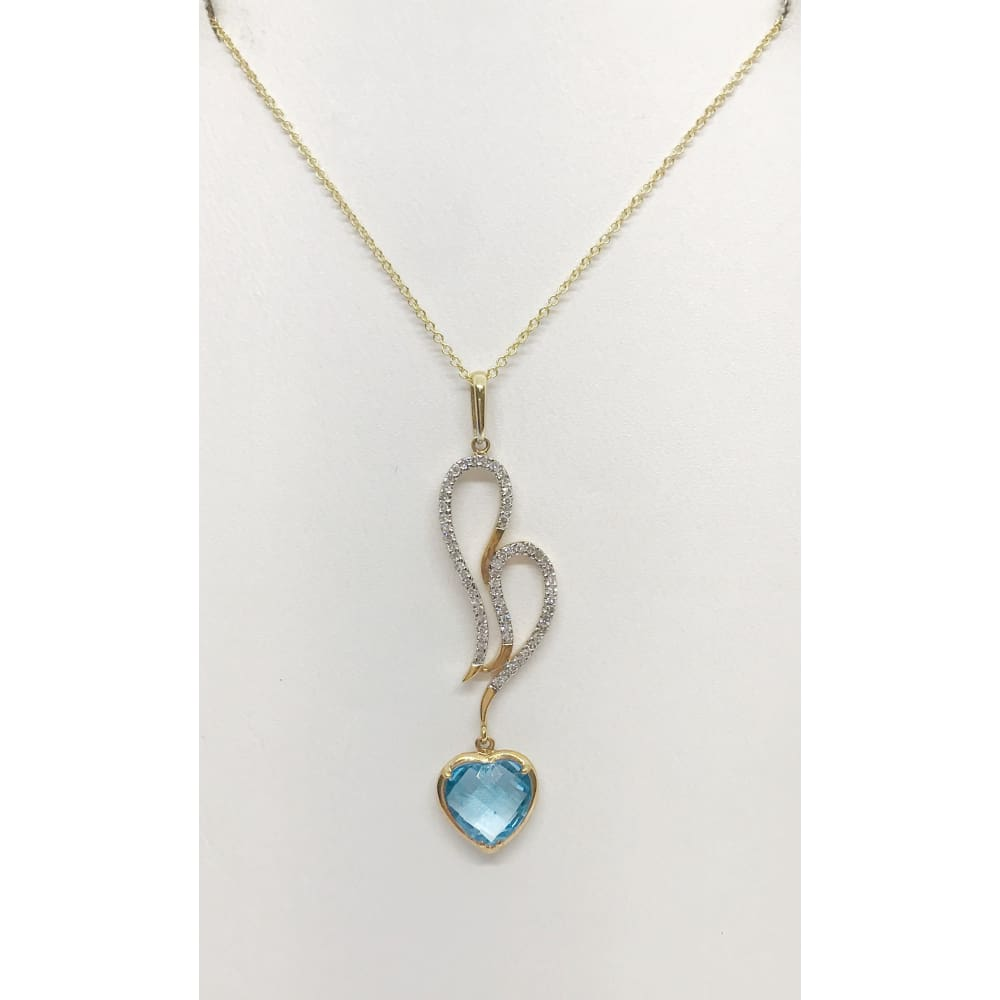 Luxinelle Heart Shaped Blue Topaz And White Diamonds Pendant Charm - 18K Yellow Gold - Necklace