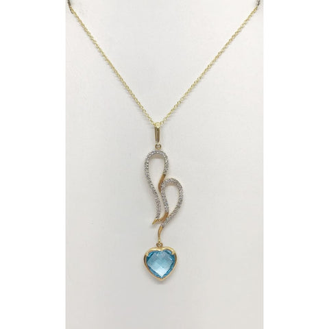 Image of Luxinelle Heart Shaped Blue Topaz And White Diamonds Pendant Charm - 18K Yellow Gold - Necklace