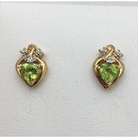 Image of Luxinelle Heart Shaped Peridot And Diamond Stud Earrings - 10K Yellow Gold - Earrings