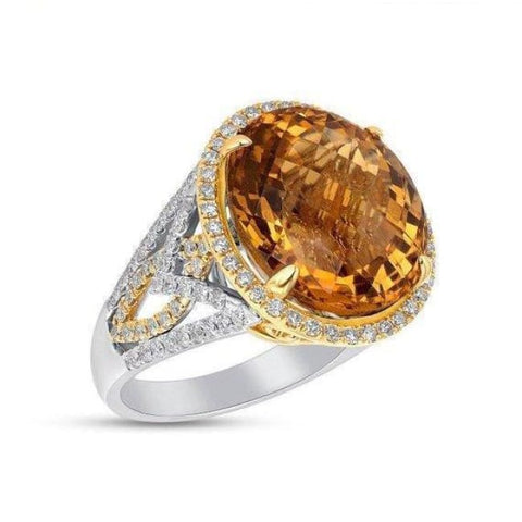 Image of Luxinelle Huge 2 Tone Gold Citrine And Diamond Statement Ring - 14K 15.54Tcw By Luxinelle®Jewelry - Ring