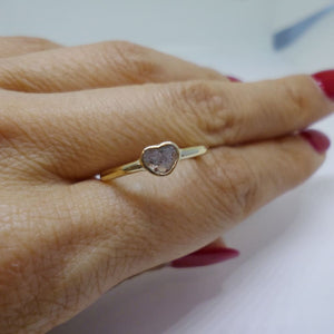 Luxinelle Imperfect Heart Diamond Slice Ring - Yellow Gold Handmade Bezel - Ring