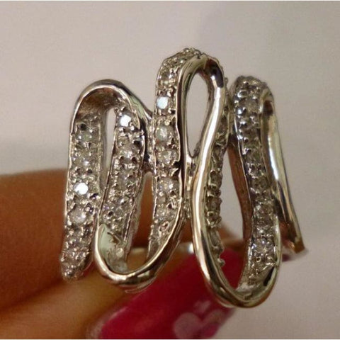 Image of Luxinelle Large Diamond Ribbon Ring - 14K White Gold By Luxinelle®Jewelry - Ring