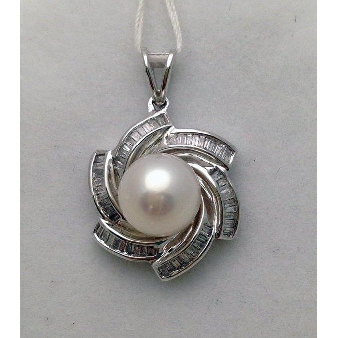 Luxinelle Large Pearl Pendant With Baguette Diamonds Flower Design - 18K White Gold - Necklace