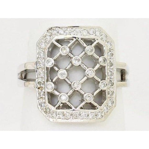 Image of Luxinelle Lattice Style Diamond Ring - 14K White Gold 0.28 Carats By Luxinelle®Jewelry - Ring
