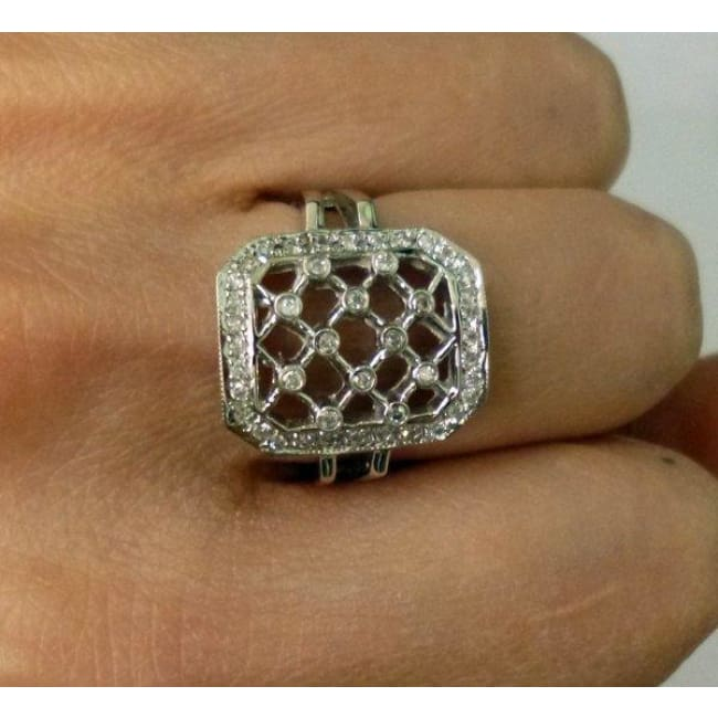 Luxinelle Lattice Style Diamond Ring - 14K White Gold 0.28 Carats By Luxinelle®Jewelry - Ring