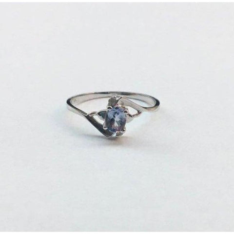 Image of Luxinelle Light Blue Tanzanite And Diamond Ring - 10K White Gold By Luxinelle®Jewelry - Ring