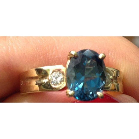 Image of Luxinelle London Blue Topaz Gold Ring - Yellow Gold W 2 Diamond Accents By Luxinelle® Jewelry - Ring