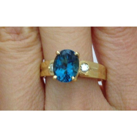Luxinelle London Blue Topaz Gold Ring - Yellow Gold W 2 Diamond Accents By Luxinelle® Jewelry - Ring