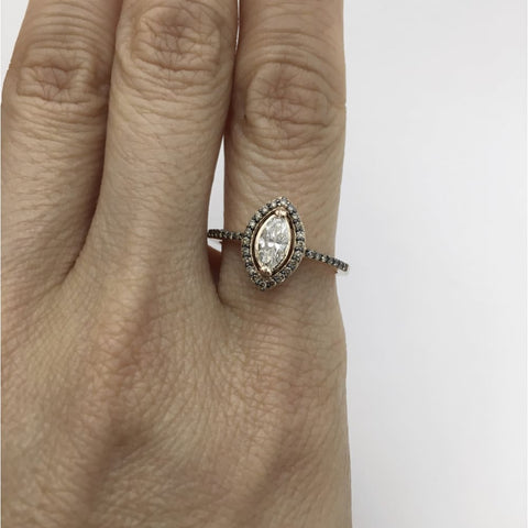 Image of Luxinelle Marquise Diamond Halo Engagement Ring In 14K Rose Gold By Luxinelle®Jewelry - Ring