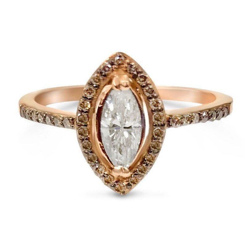 Luxinelle Marquise Diamond Halo Engagement Ring In 14K Rose Gold By Luxinelle®Jewelry - Ring