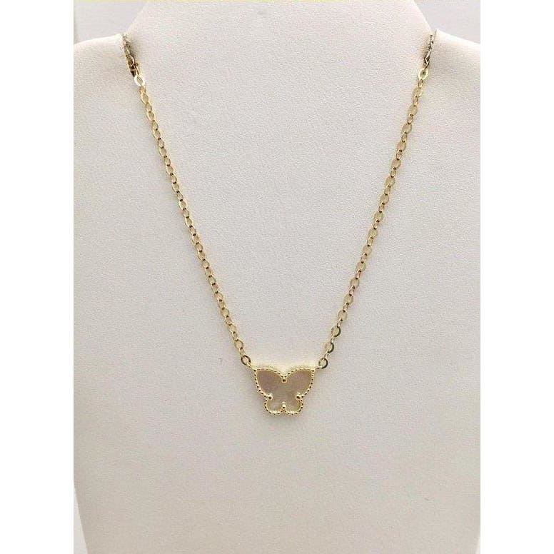 Luxinelle Mother Of Pearl Butterfly Pendant - 14K Yellow Gold - Necklace