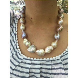 Luxinelle Multi Color Natural Baroque Pearl Necklace - Big Pearls - Necklace