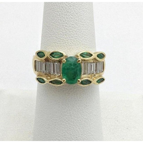 Image of Luxinelle Natural Oval And Marquise Emerald Yellow Gold Ring With Baguette Diamonds 14 By Luxinelle® Jewelry - Ring