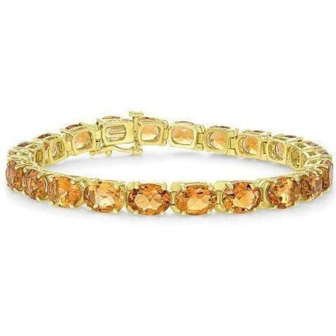 Luxinelle Natural Oval Citrine Chain Bracelet - 14K Yellow Gold 7.25 Inch - Bracelet
