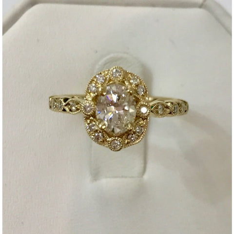 Image of Luxinelle Natural Oval Diamond Vintage Halo Engagement Ring - 14K Yellow Gold 0.82Tcw - Ring