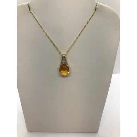 Luxinelle Orange Citrine And Diamond Pendant - Checkerboard Cut - Two Tone 14K - Necklace