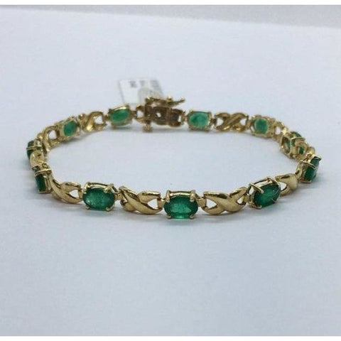 Image of Luxinelle Oval Cut Emerald And 14K Yellow Gold Bracelet - Bracelet