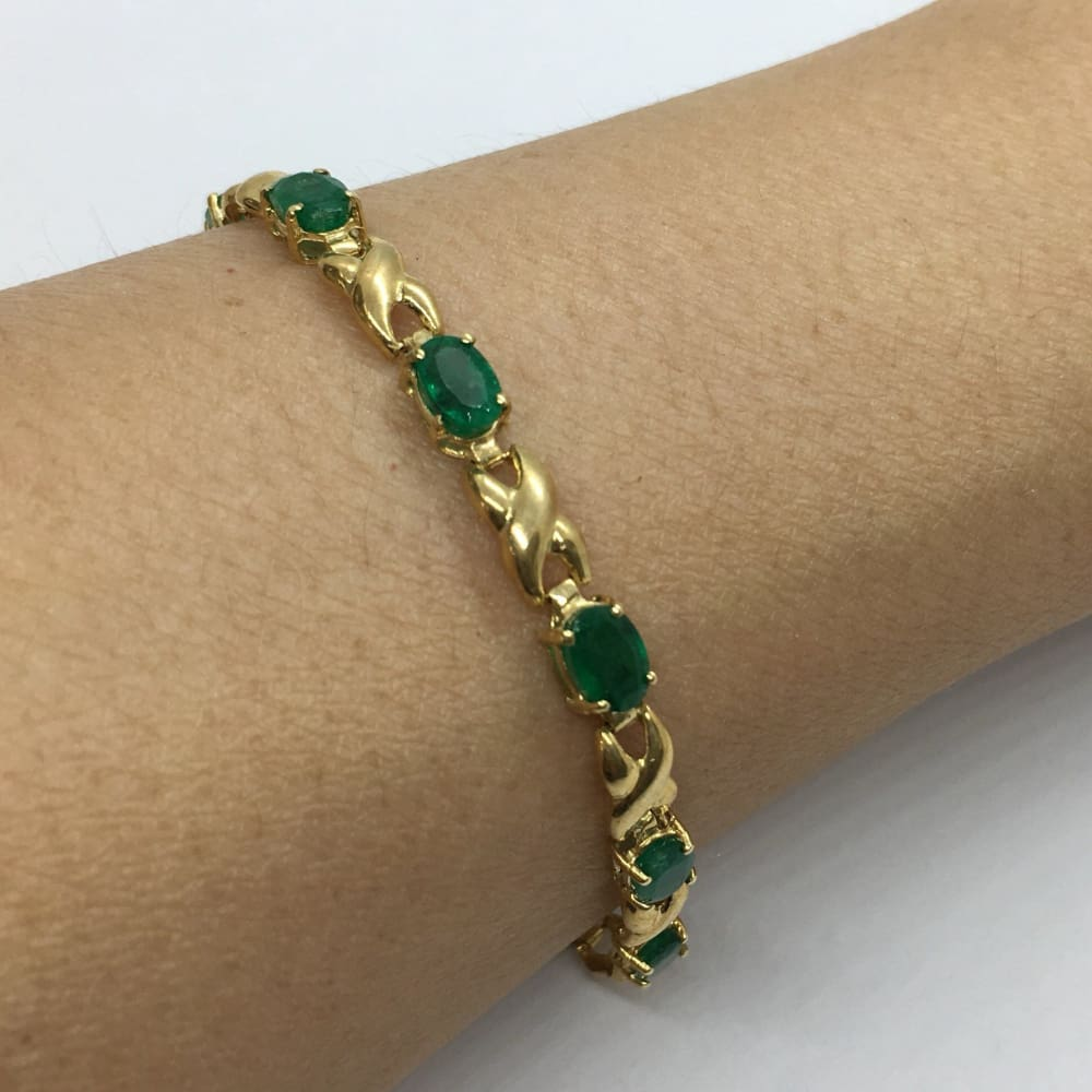 Luxinelle Oval Cut Emerald And 14K Yellow Gold Bracelet - Bracelet