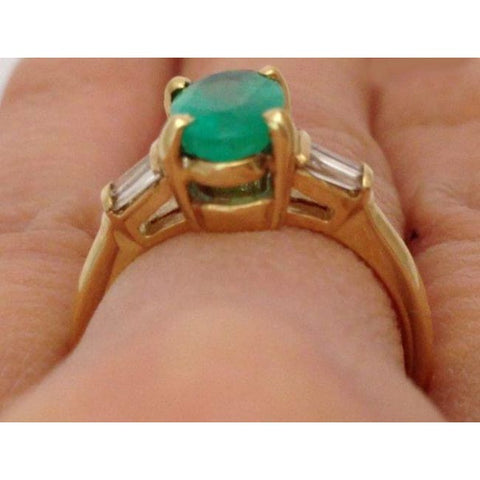 Image of Luxinelle Oval Cut Natural Emerald Gold Ring With Baguette Diamonds Yellow Gold By Luxinelle® Jewelry - Ring