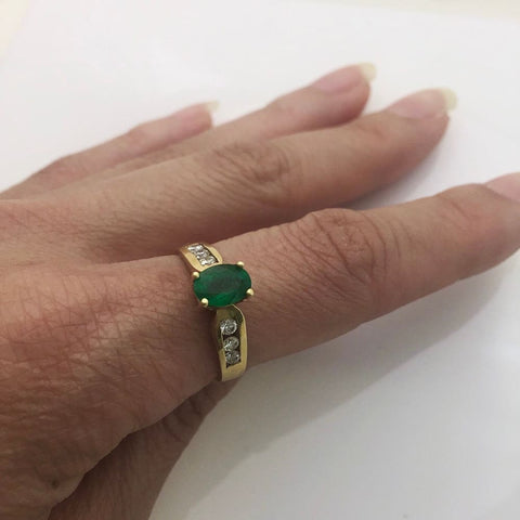 Luxinelle Oval Cut Natural Emerald With Diamonds Yellow Gold Ring 14K By Luxinelle® Jewelry - Ring