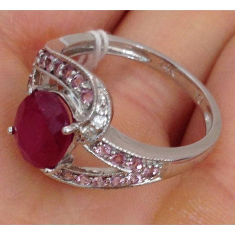 Image of Luxinelle Oval Cut Ruby With Pink Topaz And Diamond Accents 14K White Gold By Luxinelle® Jewelry - Ring