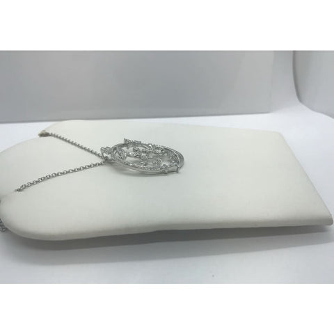 Luxinelle Oval Floral Diamond Pendant - 0.49 Carat 14K White Gold - Necklace