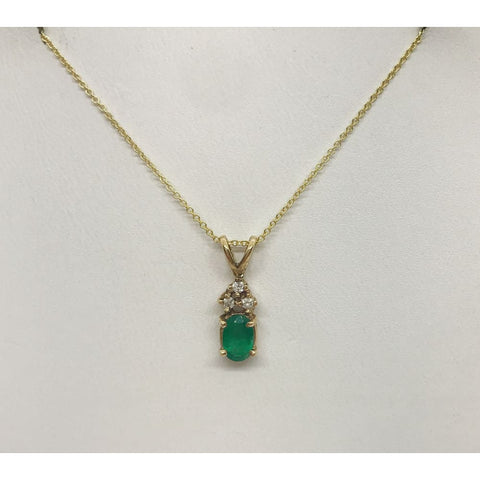 Luxinelle Oval Green Emerald With 3 Diamond Crown Pendant In 14K Yellow Gold 0.55 Tcw - Necklace
