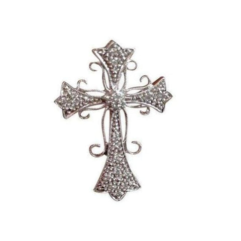 Image of Luxinelle Pave Diamond White Gold Cross Pendant Necklace - Elegant Curved Design 14K - Necklace