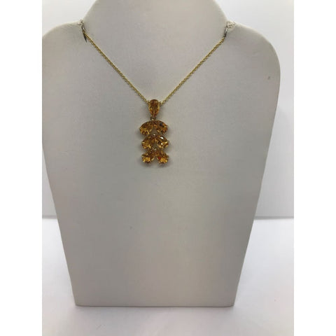 Luxinelle Pear Cut Citrine Leaf Drop Pendant In 14K Yellow Gold - Necklace