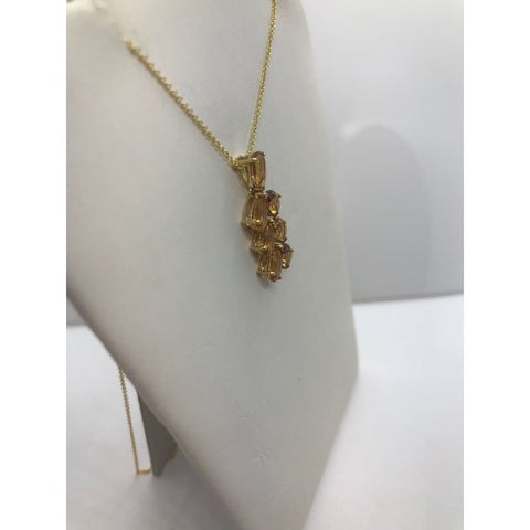 Image of Luxinelle Pear Cut Citrine Leaf Drop Pendant In 14K Yellow Gold - Necklace
