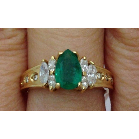 Image of Luxinelle Pear Cut Natural Emerald With Marquise And Round Diamonds - 14K Yellow Gold By Luxinelle® Jewelry - Ring