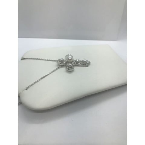 Luxinelle Pearl And Diamond Cross Pendant - 14K White Gold - Necklace