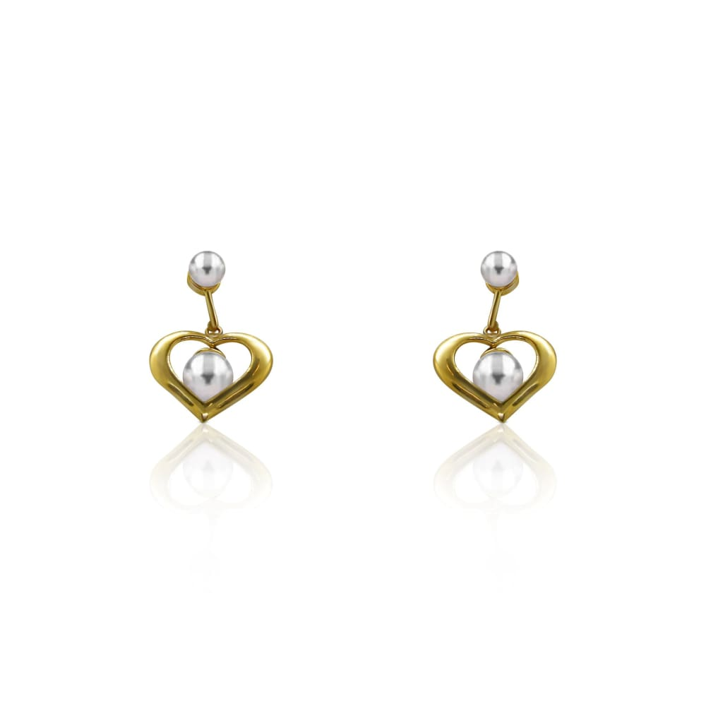Luxinelle Pearl Heart Drop Dangle Earrings In 14K Yellow Gold - Earrings