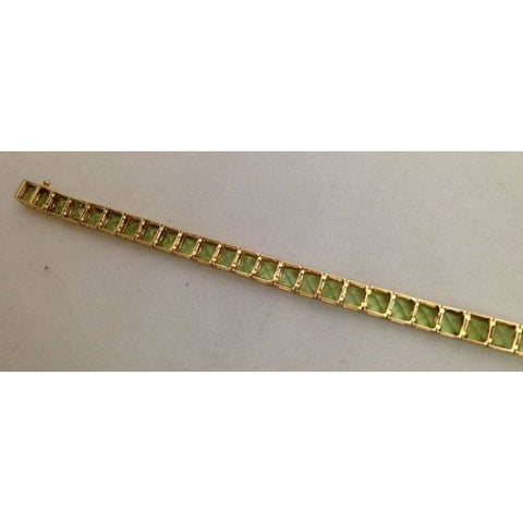 Luxinelle Peridot Bracelet With 13 Carat Princess Cut Green Peridots In 14K Yellow Gold - Bracelet