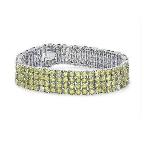 Luxinelle Peridot Bracelet With Diamonds 29.41 Tcw - 14K White Gold - Bracelet